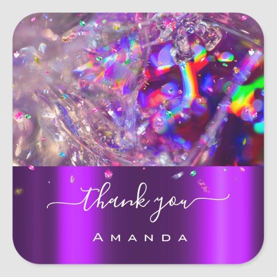Thank You Name 16th Bridal Purple Pink Rainbow Square Sticker