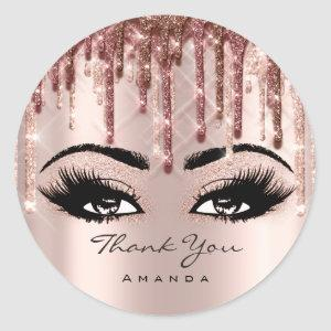 Thank You Name 16th Bridal Rose Eyelash 3D drips Classic Round Sticker