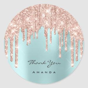 Thank You Name 16th Bridal Rose Glitter Classic Round Sticker