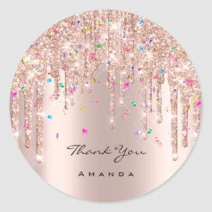 Thank You Name 16th Bridal Rose Glitter Confetti Classic Round Sticker