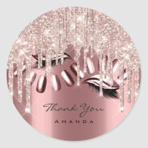 Thank You Name 16th Bridal Rose Glitter Drip Nails Classic Round Sticker