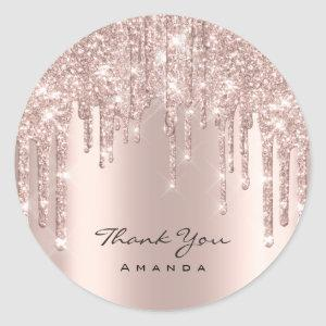Thank You Name 16th Bridal Rose Glitter Drips Lux Classic Round Sticker
