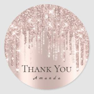 Thank You Name 16th Bridal Rose Glitter Drips VIP Classic Round Sticker