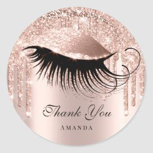 Thank You Name 16th Bridal Rose Glitter Eye Classic Round Sticker