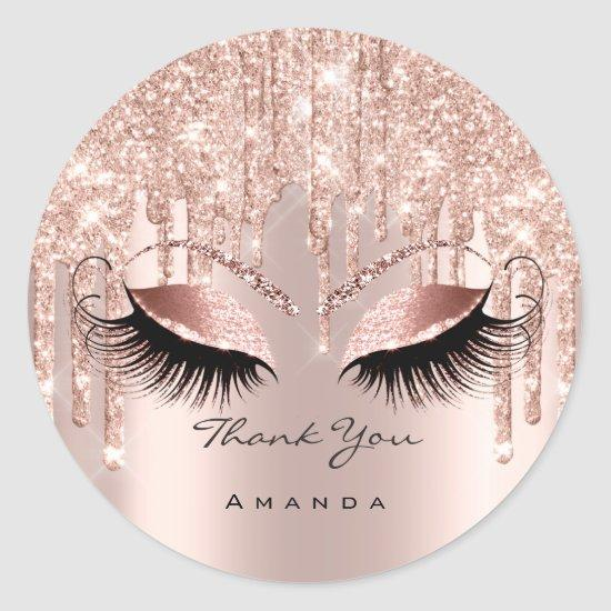 Thank You Name 16th Bridal Rose Glitter Eyes Classic Round Sticker