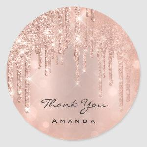 Thank You Name 16th Bridal Rose Glitter Glam Classic Round Sticker
