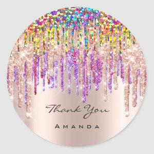 Thank You Name 16th Bridal Rose Glitter Holograph Classic Round Sticker