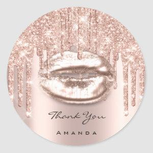 Thank You Name 16th Bridal Rose Glitter Kiss Lips Classic Round Sticker