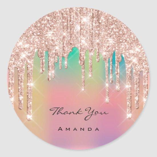 Thank You Name 16th Bridal Rose Glitter Ombre Classic Round Sticker