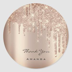 Thank You Name 16th Bridal Rose Glitter Spark VIP Classic Round Sticker