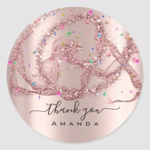 Thank You Name 16th Bridal Rose Modern Confetti Classic Round Sticker