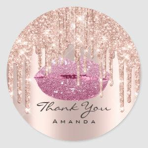 Thank You Name 16th Bridal Rose Pink Lips Classic Round Sticker