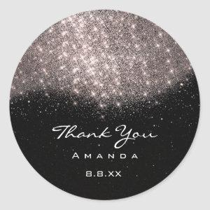 Thank You Name 16th Bridal Rose Sand Black Classic Round Sticker