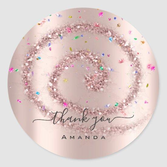 Thank You Name 16th Bridal Rose Spark Confetti Classic Round Sticker