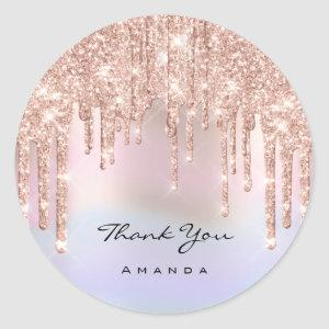 Thank You Name 16th Bridal Rose Spark  Holograph Classic Round Sticker