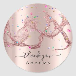 Thank You Name 16th Bridal Rose Waves Confetti Classic Round Sticker