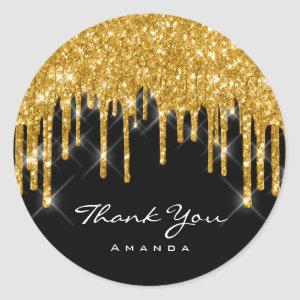 Thank You Name 16th Bridal Shower Gold Black Classic Round Sticker