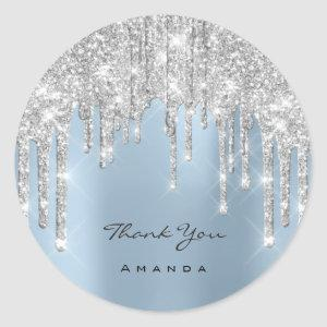 Thank You Name 16th Bridal Silver Glitter Blue Classic Round Sticker