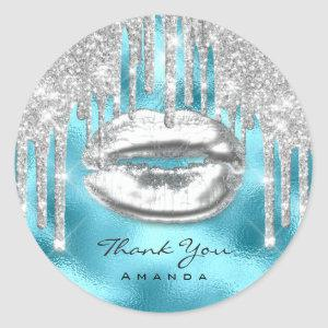 Thank You Name 16th BridalBlue Glitter Kiss Silver Classic Round Sticker