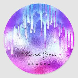 Thank You Name 16th Bride Holographic Drips Classic Round Sticker