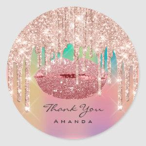 Thank You Name 16th Kiss Lips Rose Glitter Ombre Classic Round Sticker