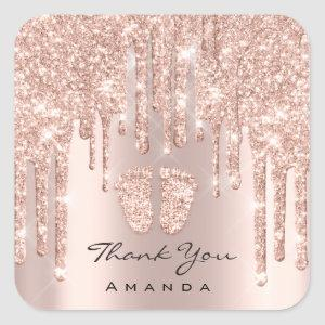 Thank You Name Baby Shower Rose Gold Spark Glam Square Sticker