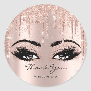 Thank You Name Confetti Rose Glitter Eyelash Classic Round Sticker