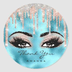 Thank You Name Confetti Rose Glitter Eyelash Ocean Classic Round Sticker