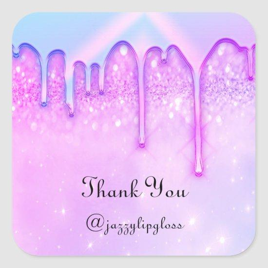 Thank You Name Drip Favor Pink Blue Glitter Square Sticker