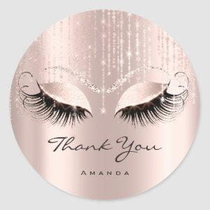 Thank You Name Eyelash Rose Bridal Sweet 16th Classic Round Sticker