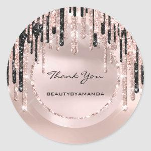 Thank You Name  Makeup Artist  Drips Rose Glitter Classic Round Sticker