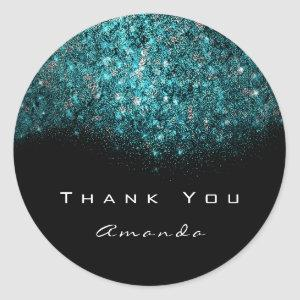 Thank You Name Ocean Blue Black White Classic Round Sticker
