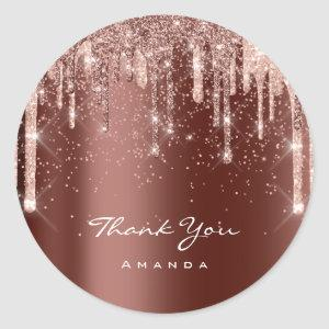 Thank You Name Rose Drips Glitter Brown Classic Round Sticker