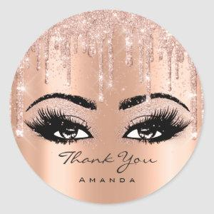 Thank You Name Rose Gold Glitter Eyelash Classic Round Sticker