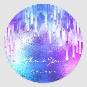 Thank You Name Sweet 16th Bridal Holographic Drips Classic Round Sticker