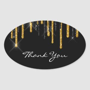 Thank You Name Wedding  Black Gold Drips Oval Sticker