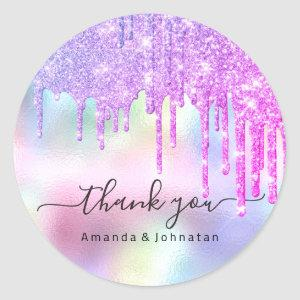 Thank You Name Wedding Glitter Holograph Drips Classic Round Sticker