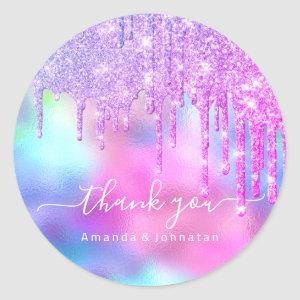 Thank You Name Wedding Glitter Holograph Pink Classic Round Sticker