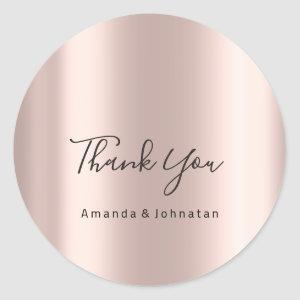 Thank You Name Wedding Rose Bridal Sweet 16th Classic Round Sticker