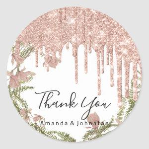 Thank You Name Wedding Rose Glitter Floral White Classic Round Sticker