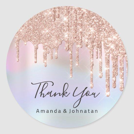 Thank You Name Wedding Rose Glitter Holograph Classic Round Sticker