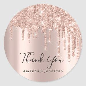 Thank You Name Wedding Rose Glitter Spark Lux Classic Round Sticker