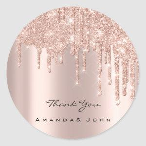 Thank You Name Wedding Rose Glitter Spark VIP Classic Round Sticker