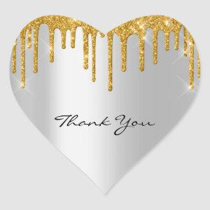 Thank You Name Wedding  Silver Grey  Gold Drips Heart Sticker