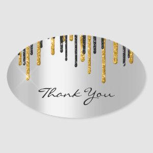 Thank You Name Wedding  Silver Grey  Gold Drips Oval Sticker