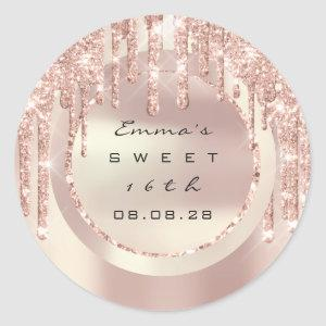 Thank You Rose Drips Sweet 16th Glitter 15th Classic Round Sticker