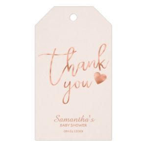Thank You Rose Gold Foil Pink Blush Favor Gift Tags