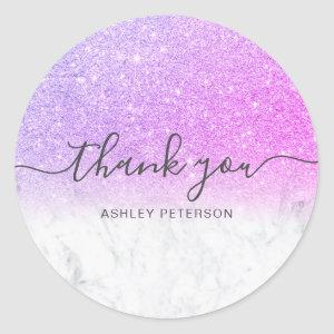 Thank you  script marble pink glitter ombre classic round sticker