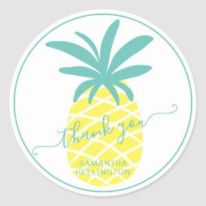 Thank you script teal tropical editable pineapple classic round sticker