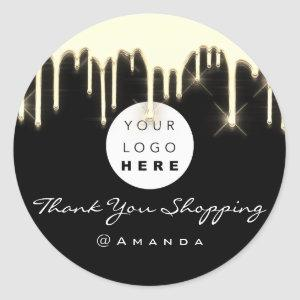 Thank You Shopping Name Logo Black Gold Classic Round Sticker